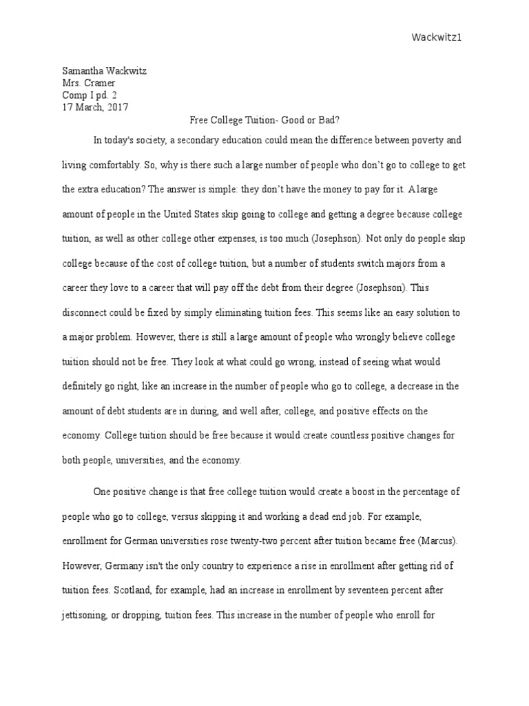 free college essay examples