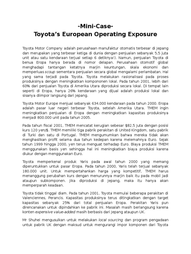 toyota's european operating exposure