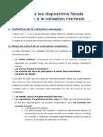 Note Sur Les Dispositions Fiscale Relatives à La Cotisation Minimale.