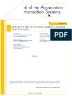The Role of Information Systems in Enabling Open Innovation and that