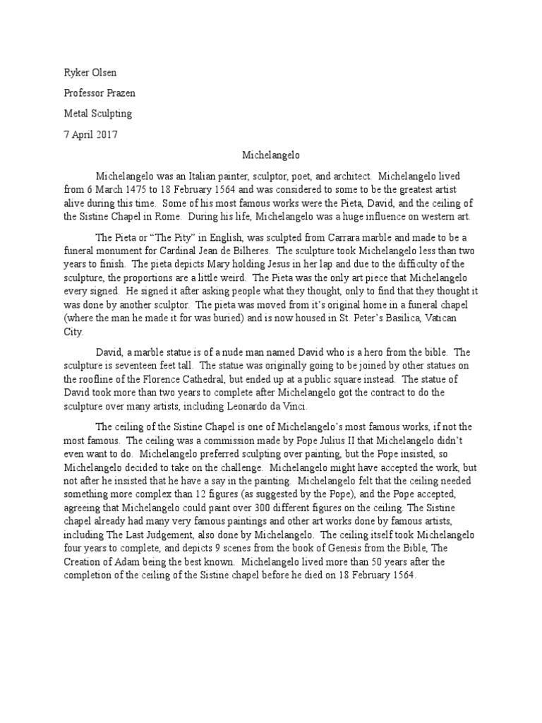 Essay on michelangelo
