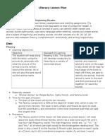 lesson plan for beginner literacy lesson