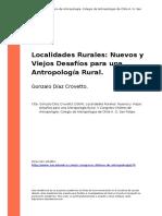 Gonzalo Diaz Crovetto (2004). Localidades Rurales Nuevos y Viejos Desafios Para Una Antropologia..