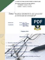Tema Bazele Teoretice Ale Analizei Activităţii Economice
