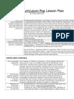 curriculum pop lesson plan