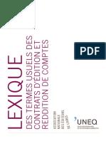 Lexique relations auteurs éditeurs Québec