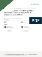 Effects on Teachers' Self-Efficacy and Job Satisfa