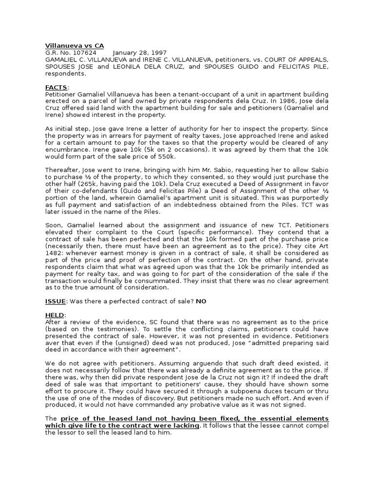 Villanueva Vs Ca Scribd Lease Common Law