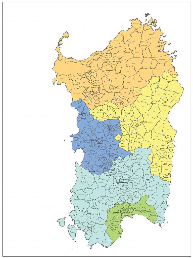 Cartina Sardegna Nuove Province