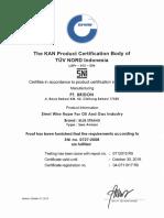 SNI 0727 Certification - PT Bridon