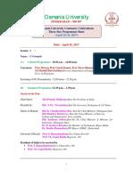 OU100 Celebration Three Days Program Schedule