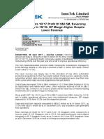 InnoTek Posts 1Q'17 Profit of S$2.5M, Reversing $0.5M Loss in 1Q'16; GP Margin Higher Despite Lower Revenue