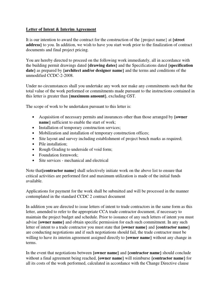 Letter Of Intent.pdf | Specification (Technical Standard) | Indemnity