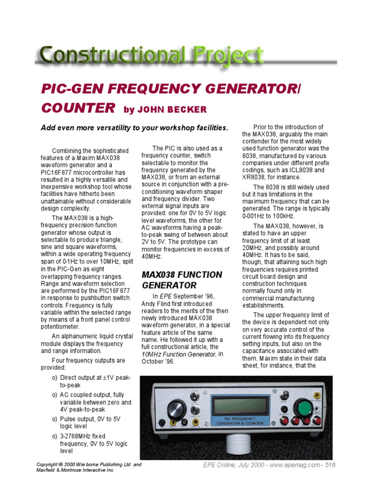 Pic Gen Frequency Generatorpdf Capacitor Electronic Circuits 10mhz Counter Circuit
