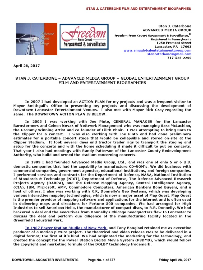 BREAKING NEWS - STAN J. CATERBONE – ADVANCED MEDIA GROUP – GLOBAL  ENTERTAINMENT GROUP FILM AND ENTERTAINMENT BIOGRAPHIES of April 28,  2017.pdf | Federal ...