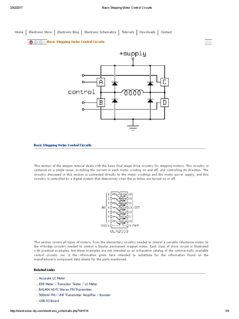 Basic Stepping Motor Control Circuits Arduino Inductor Inductance Meter Circuit Electronic Projects