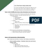 Biology 211 Final Exam Study Guide 2016