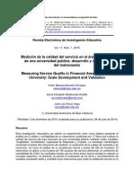 Medición de La Calidad Del Servicio en El Área Financiera de Una Universidad Pública Desarrollo y Validación Del Instrumento