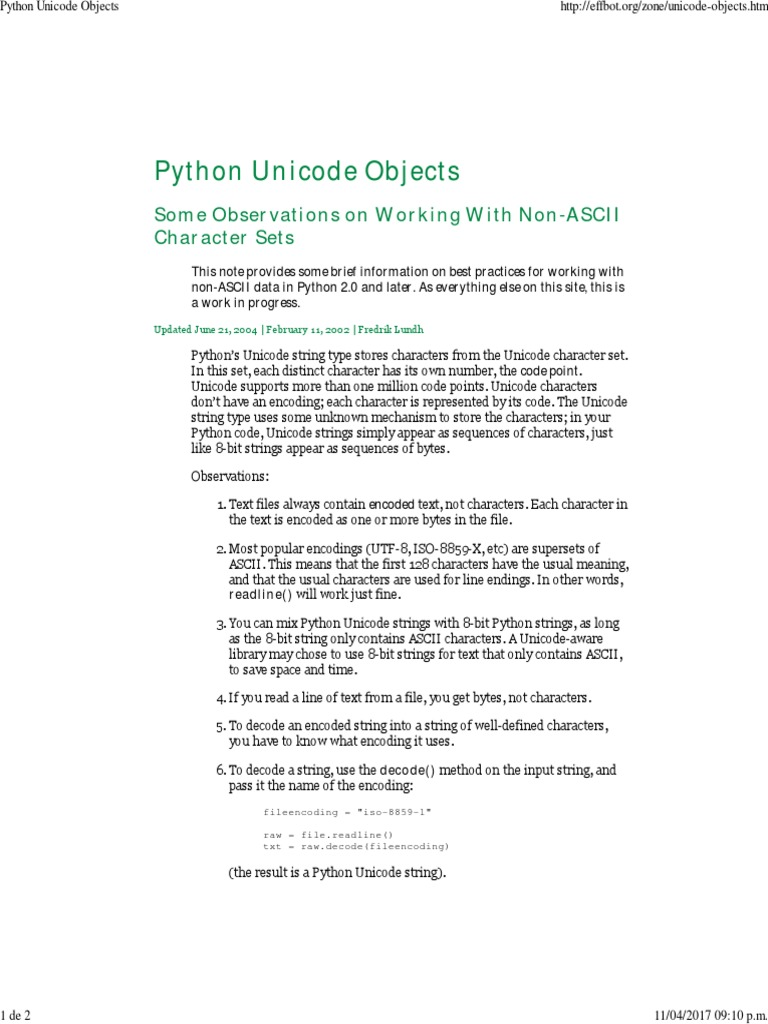 Python Unicode Objects | String (Computer Science) | Code