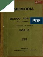 Memoria del Banco Agrícola del Paraguay, ejercicio 1909-10. Asunción, año 1911