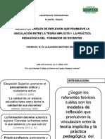 Modelo de niveles de reflexión que promueve la vinculación entre la teoría implícita y  la práctica pedagógica del  formador de docentes.
