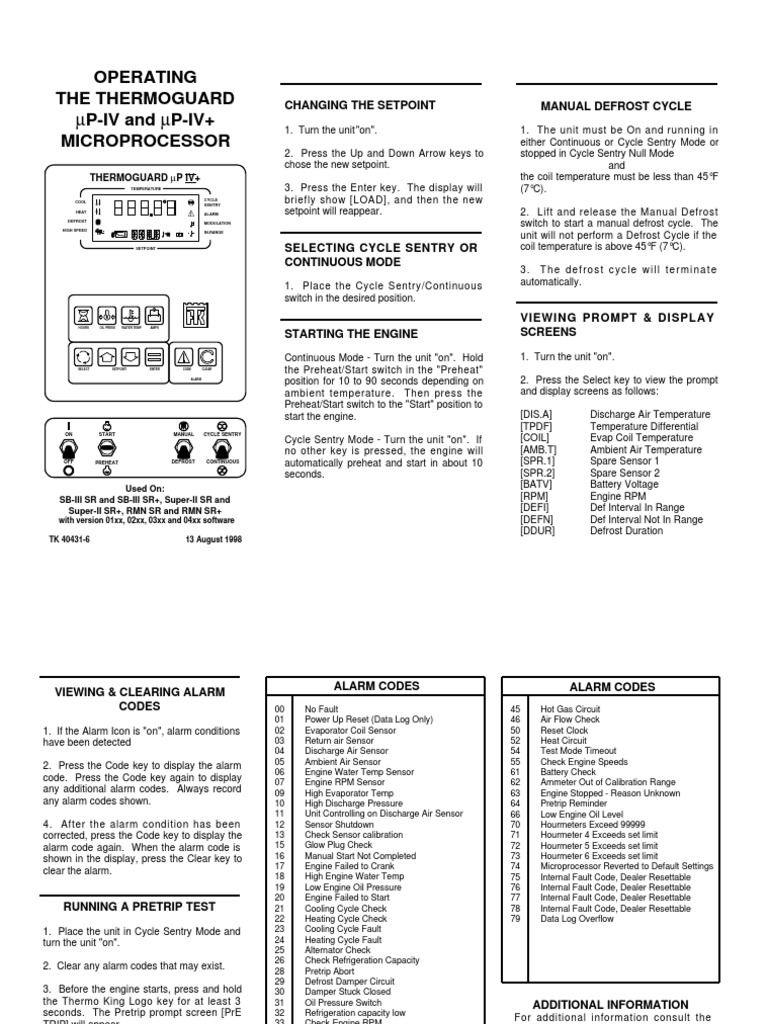 UP-IV Pocket Card | Engines | Refrigeration