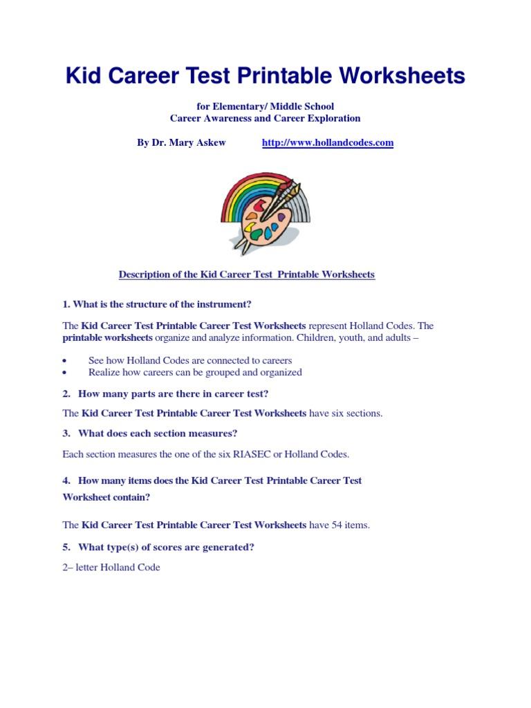 worksheet Career Exploration Worksheets career test printable worksheets special education teachers