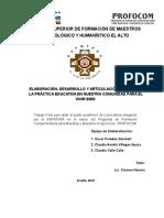 """Sistematizacion Elaboración, Desarrollo y Articulación Del Psp """"en La Práctica Educativa en Nuestra Comunidad Para El Vivir Bien"""