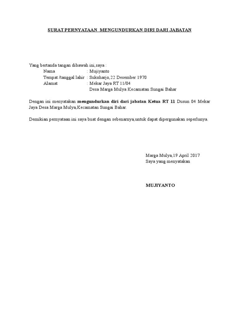 Surat Pernyataan Mengundurkan Diri Dari Jabatan Docx