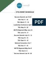 OTG Event Schedule 2017