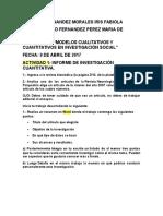 Actividad 1 Informe de Investigación Cuantitativa.