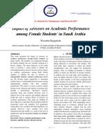 Impact of Stressors on Academic Performance among Female Students' in Saudi Arabia