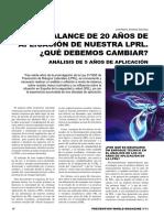 MODIFICACION  DE LA LEY   31/95.Analisis 20 Años Ley Prevencion Riesgos Laborales