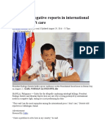 Duterte on Negative Reports in International Media