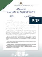 L'accord entre Marine Le Pen et Nicolas Dupont-Aignan