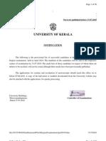 btech S8 result for Kerala university
