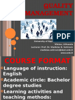 Course Format Quality Management