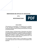 Prototype Memorandum and Articles of a Microfinance Bank