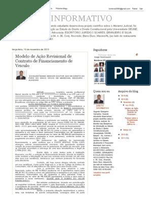 Direito Informativo Modelo De Ação Revisional De Contrato