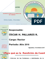 Audiencia Pública rendición de cuentas col. Jorge Eliécer Gaitán Aguachica