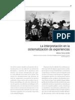 Alfonso Torres La Interpretación en La Sistematización de Experiencias (1)