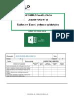 Lab-9 Tabla en Excel Orden y Subtotales