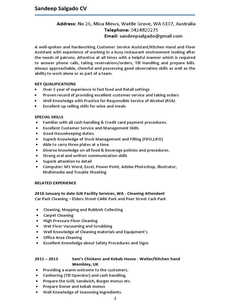 sandeep cv housekeeping menu - Special Skills For Housekeeping