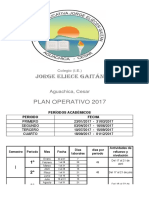 Plan Operativo 2017 colegio Jorge Eliécer Gaitán, Agauchica