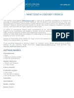 CFP - Nineteenth-Century French Literature