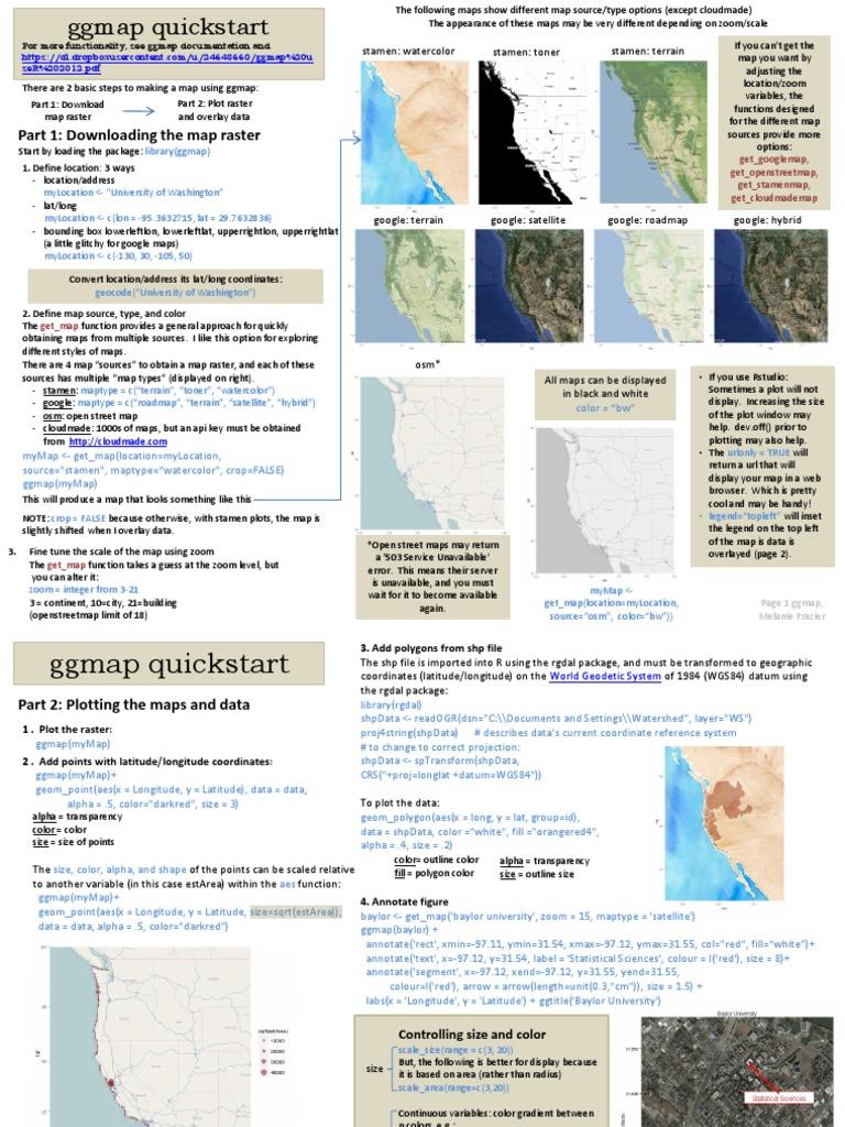 ggmapCheatsheet pdf | Map | Geomatics