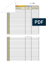 Steel Support History Data Sheet
