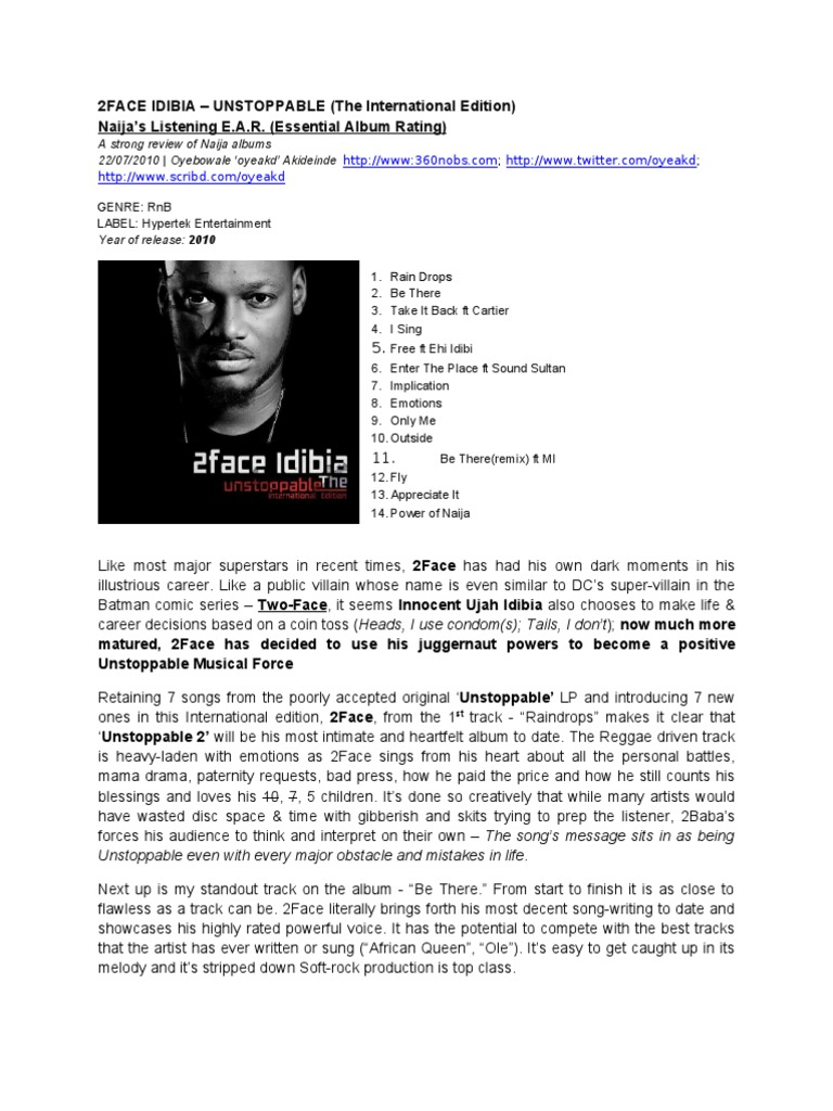 2face Idibia Unstoppable Intl Ed