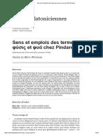 Sens Et Emplois Des Termes Φύσις Et Φυά Chez Pindare
