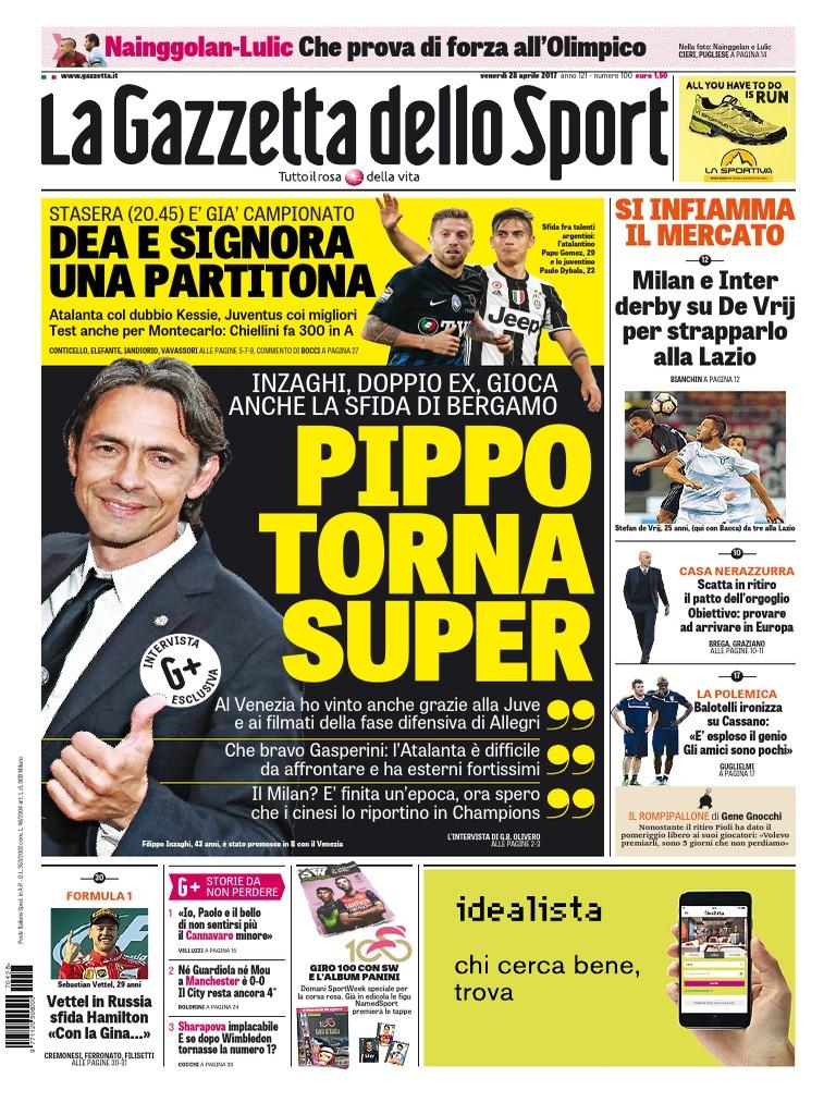 La Gazzetta Dello Sport Con Edizioni Locali 28 Aprile 2017 Avxhmse